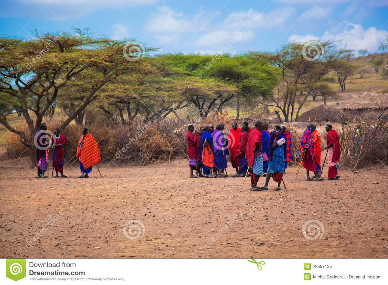 Maasai Village, The African Family Standing Near Huts. Editorial.