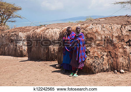 Stock Image of Maasai people in their village in Tanzania, Africa.