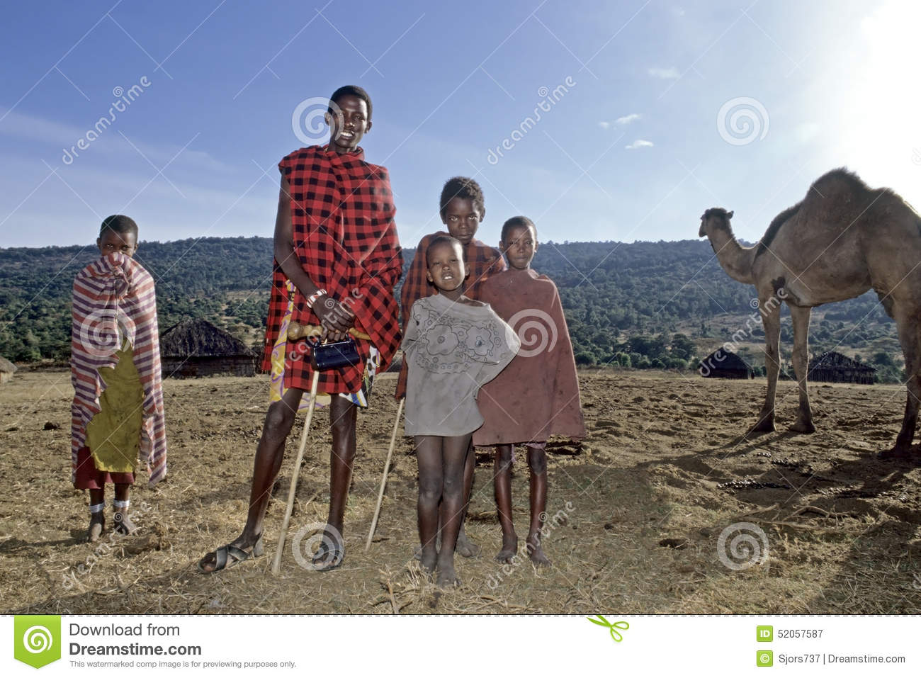Village Life Maasai, Introduction Of Dromedary Editorial.