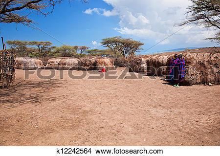 Stock Photo of Maasai people in their village in Tanzania, Africa.