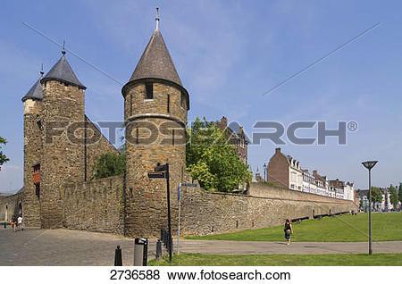 Pictures of Facade of castle, Helpoort, Maastricht, Limburg.