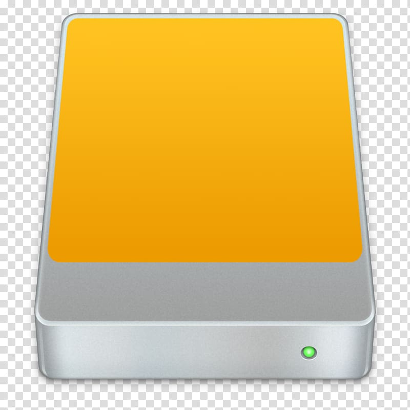 Square yellow and gray device , Hard Drives macOS Time.