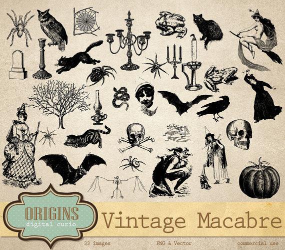 Vintage Macabre Halloween Clipart Halloween by OriginsDigitalCurio.