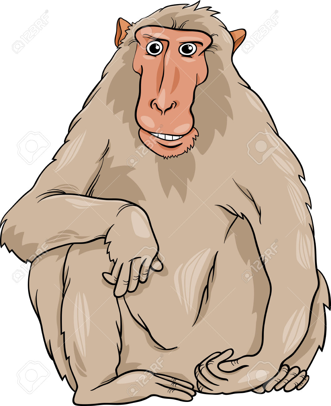 Cartoon Illustration Of Funny Macaque Monkey Primate Animal.