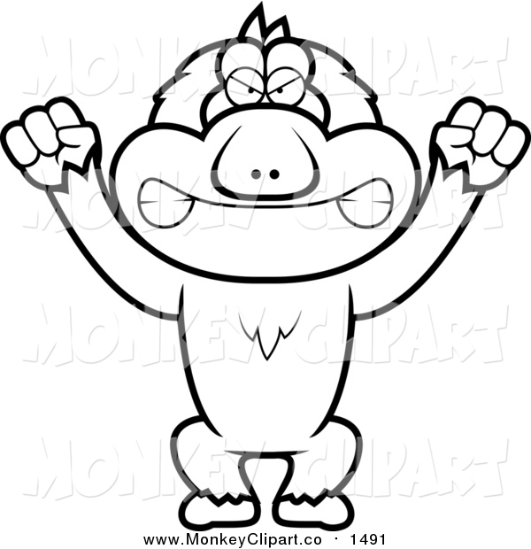 Clip Art of a Lineart Angry Macaque Monkey by Cory Thoman.