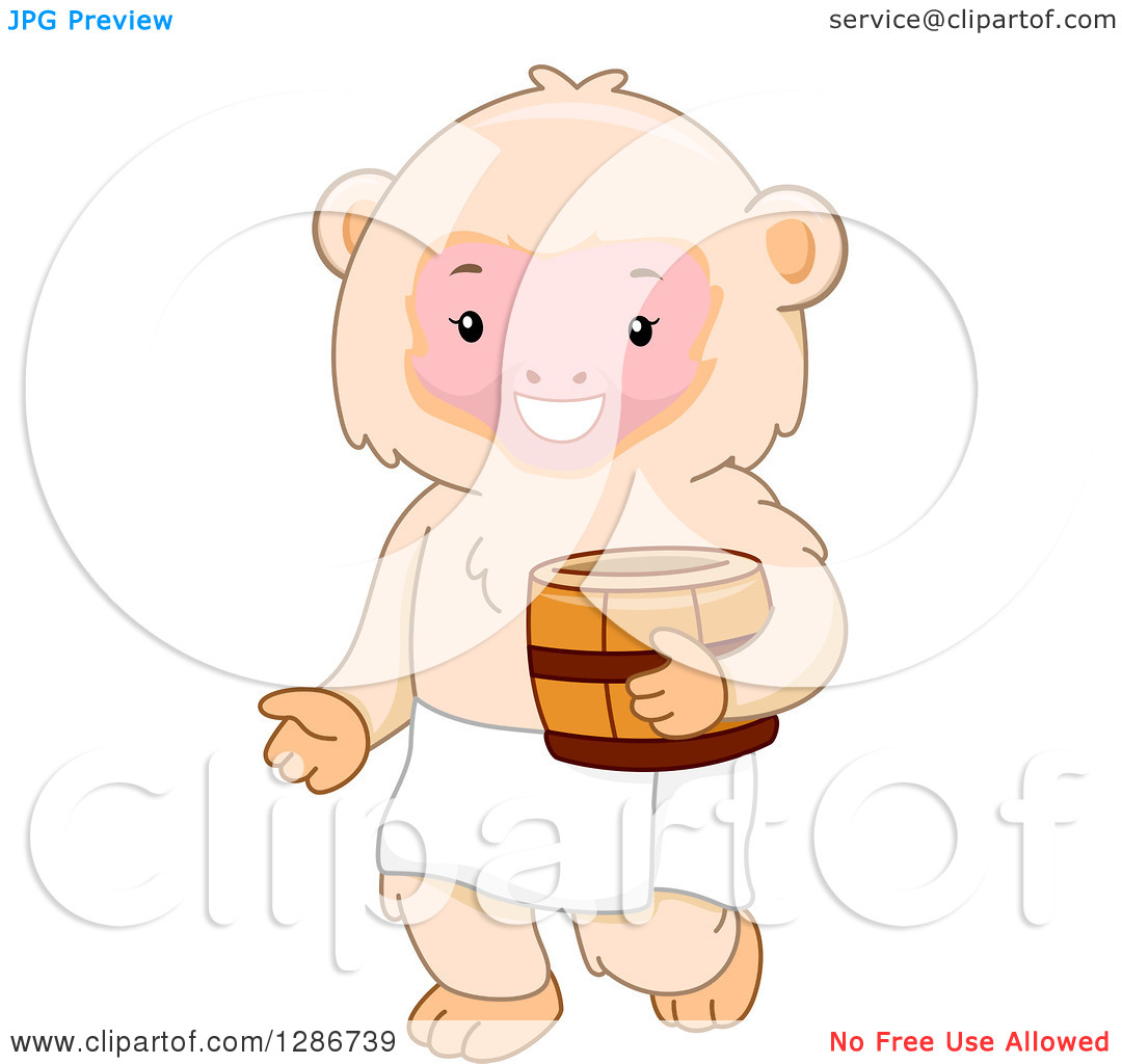 Clipart of a Happy Macaque Monkey Holding a Barrel and Ready for a.
