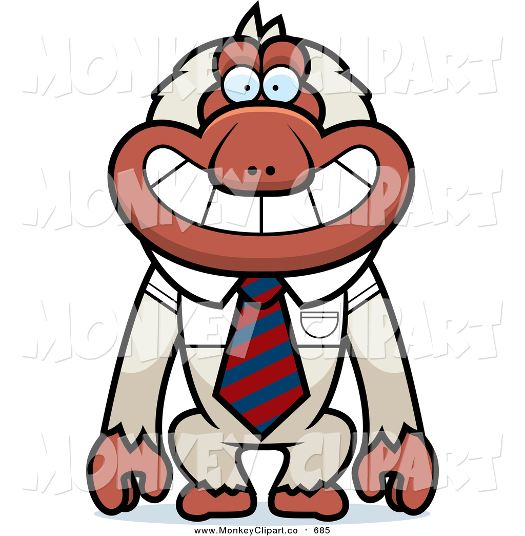 Clip Art of a Macaque Monkey Wearing a Tie by Cory Thoman.