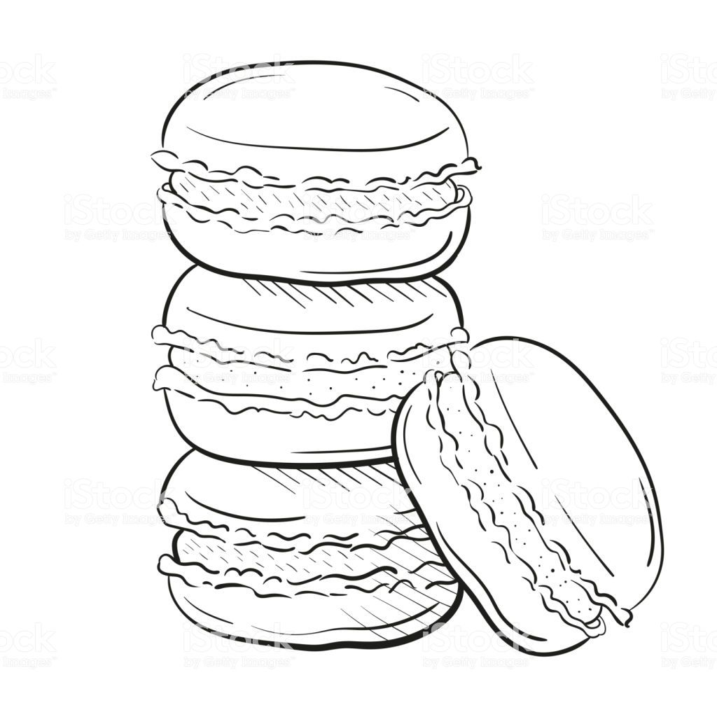 macaroon cakes, vector illustration isolated on white.