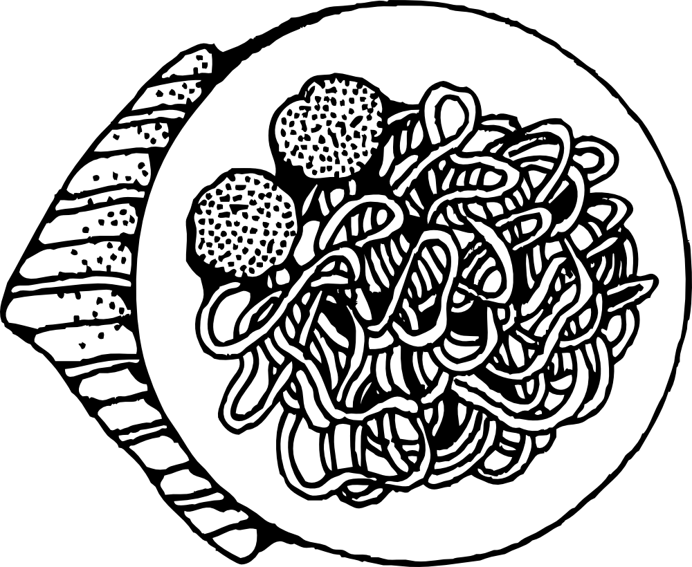 Macaroni Clipart Black And White.