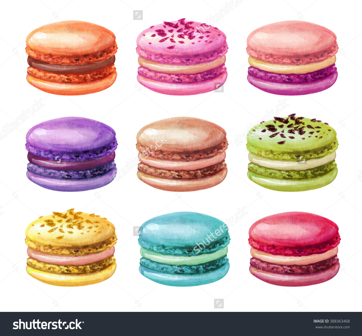 Watercolor Assorted Macaroons Macarons Mix Clip Stock Illustration.