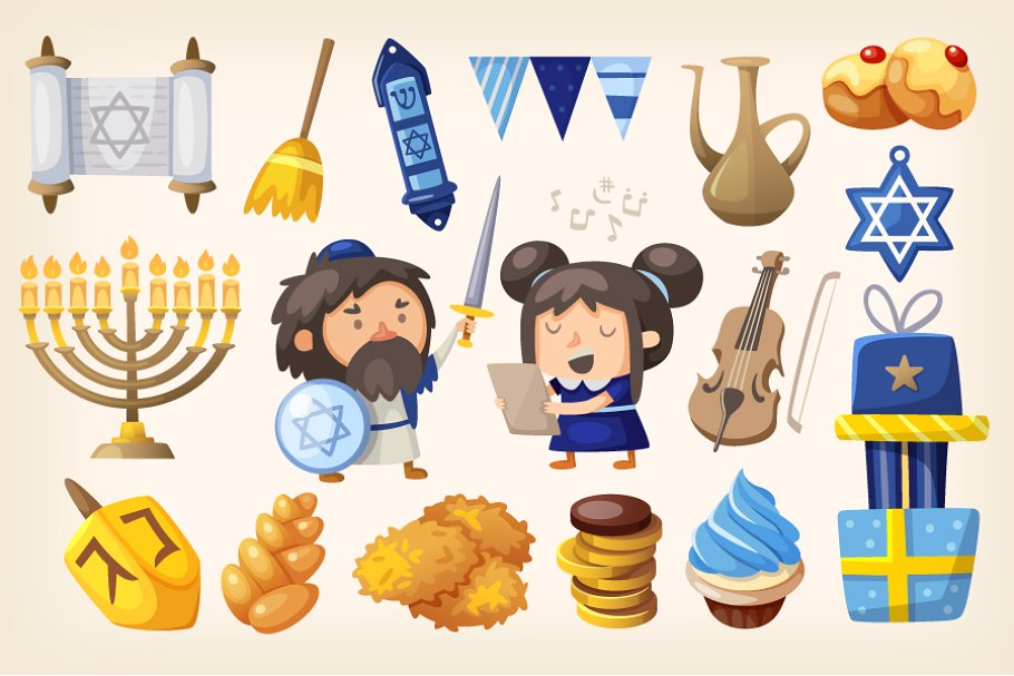 Set of elements for Hanukkah card.