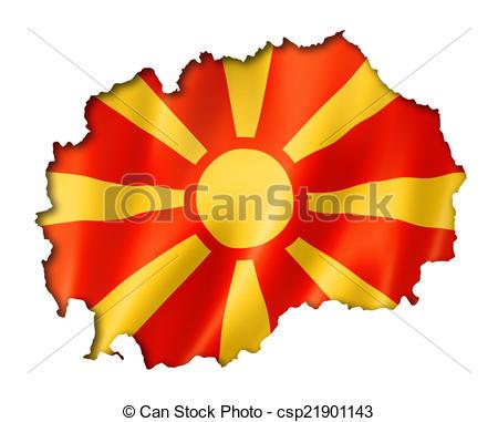 Drawing of Macedonian flag map.
