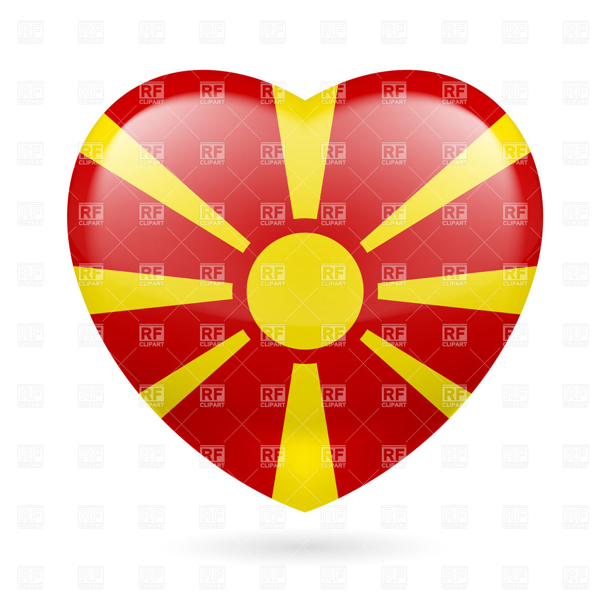 Heart with Macedonian flag colors.