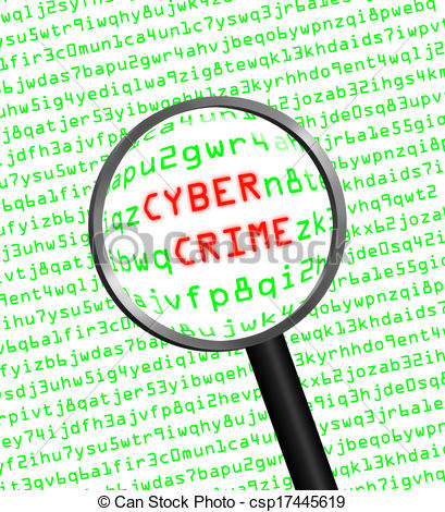 Clipart of The words Cyber Crime revealed in computer machine code.