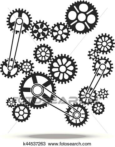Gears, cogs and wheels vector engine transmission machine design background  element Clipart.