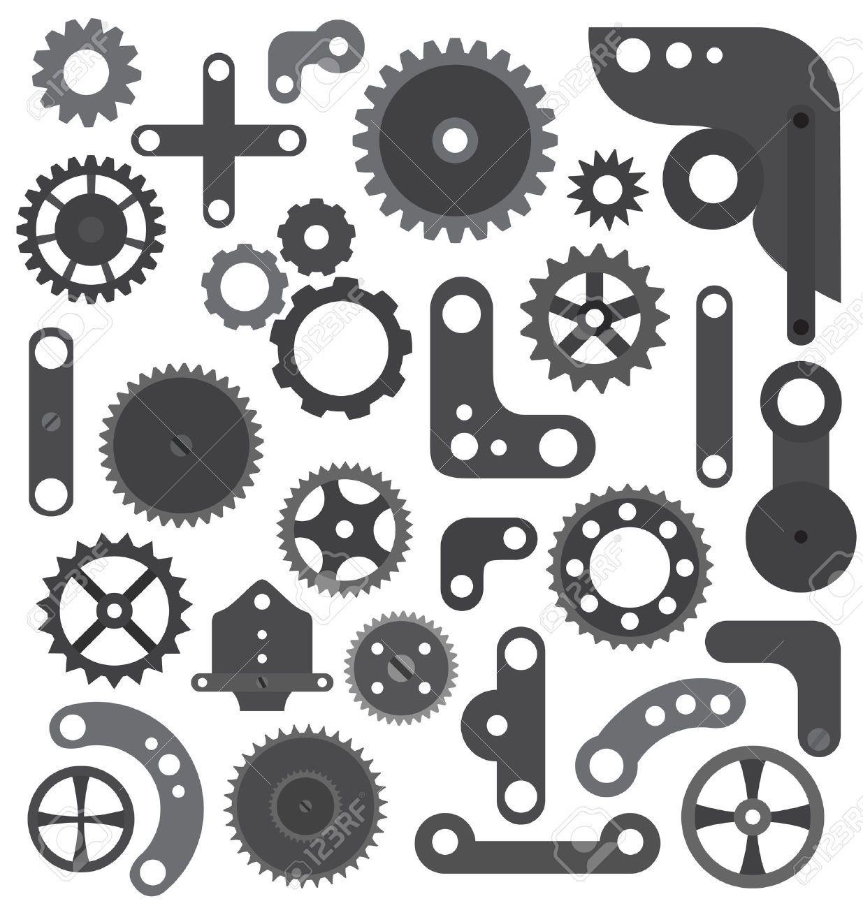 Pin on Gears, Clocks, Keys Silhouettes, Vectors, Clipart.