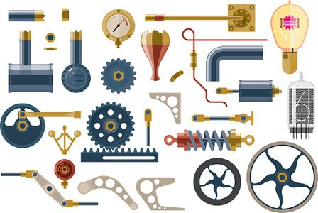 Set of parts and components of the machine mechanism Clipart.