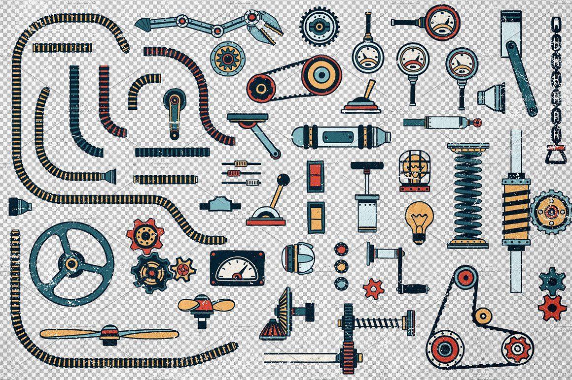 Fantastic Machines Construction Kit graphics, paint.