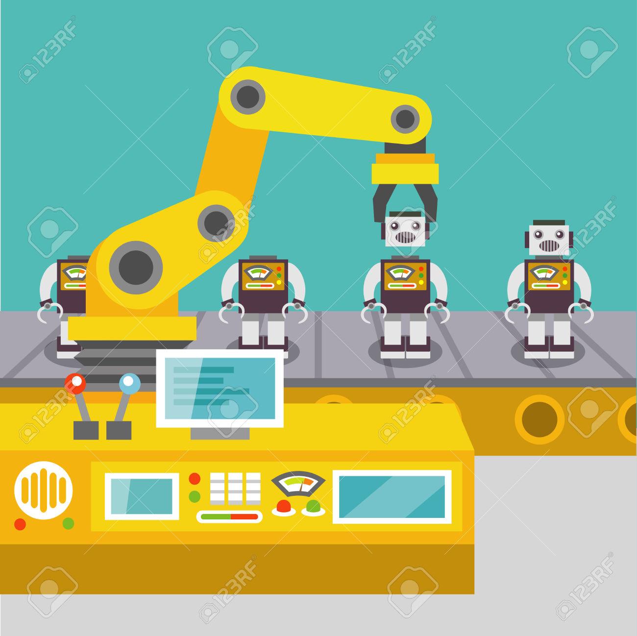 Robotic Arm Assemble Line Mechanic Manufacturing Factory Robot.