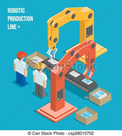 Vector Clipart of Robotic production line. Manufacturing and.