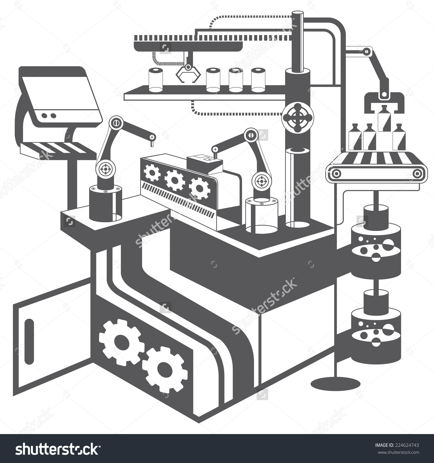 Manufacturing Plant Robotic Arm Automation System Stock Vector.