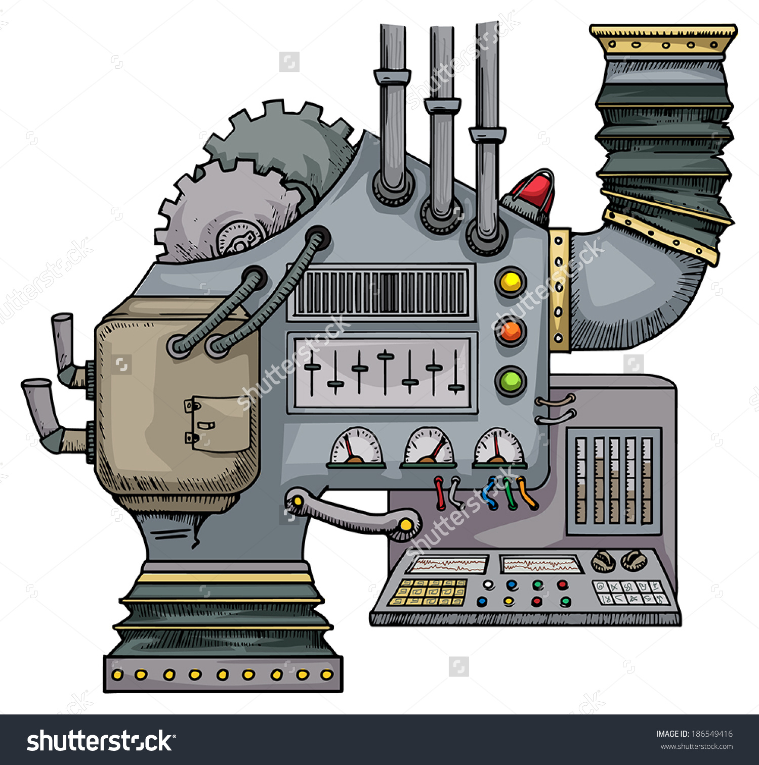 Complex Fantastic Machine Gears Levers Pipes Stock Vector.