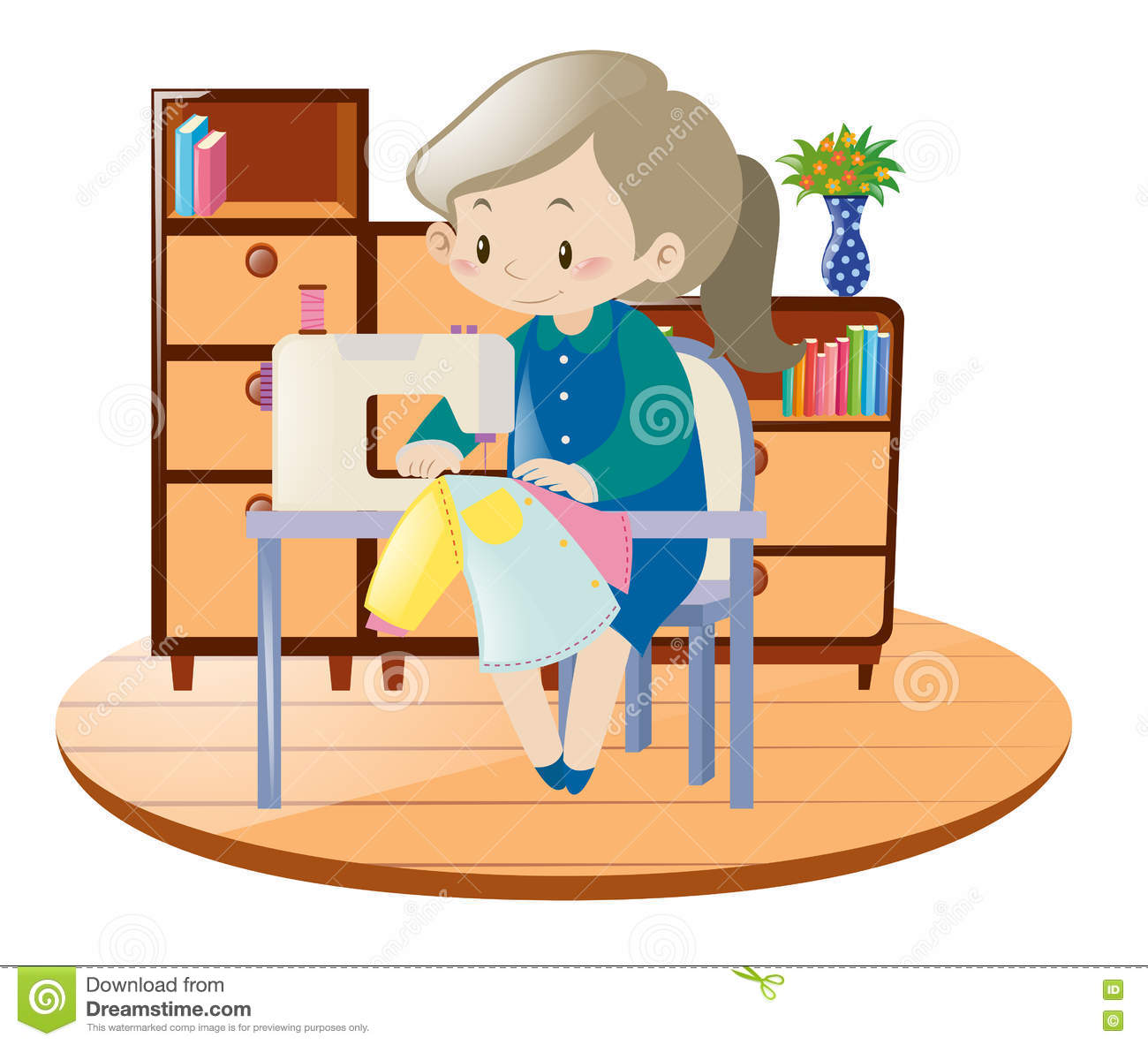 Woman Sewing Clothes With Machine In Room Stock Vector.