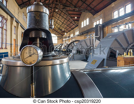 Stock Photo of Machine room of historic steam pumping station.