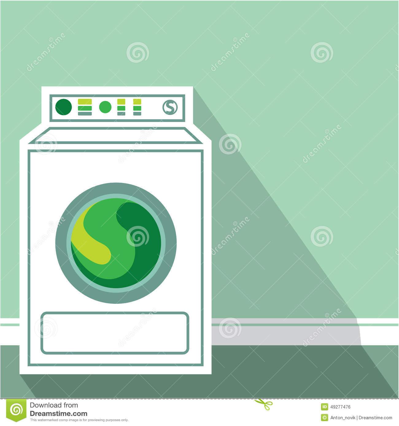 Washing Machine Laundry Room Stock Vector.
