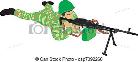 Vector Clipart of The soldier with a machine gun. The soldier with.