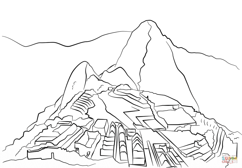 Machu Picchu coloring page.