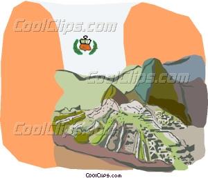 The ruins of Machu Picchu Peru Vector Clip art.