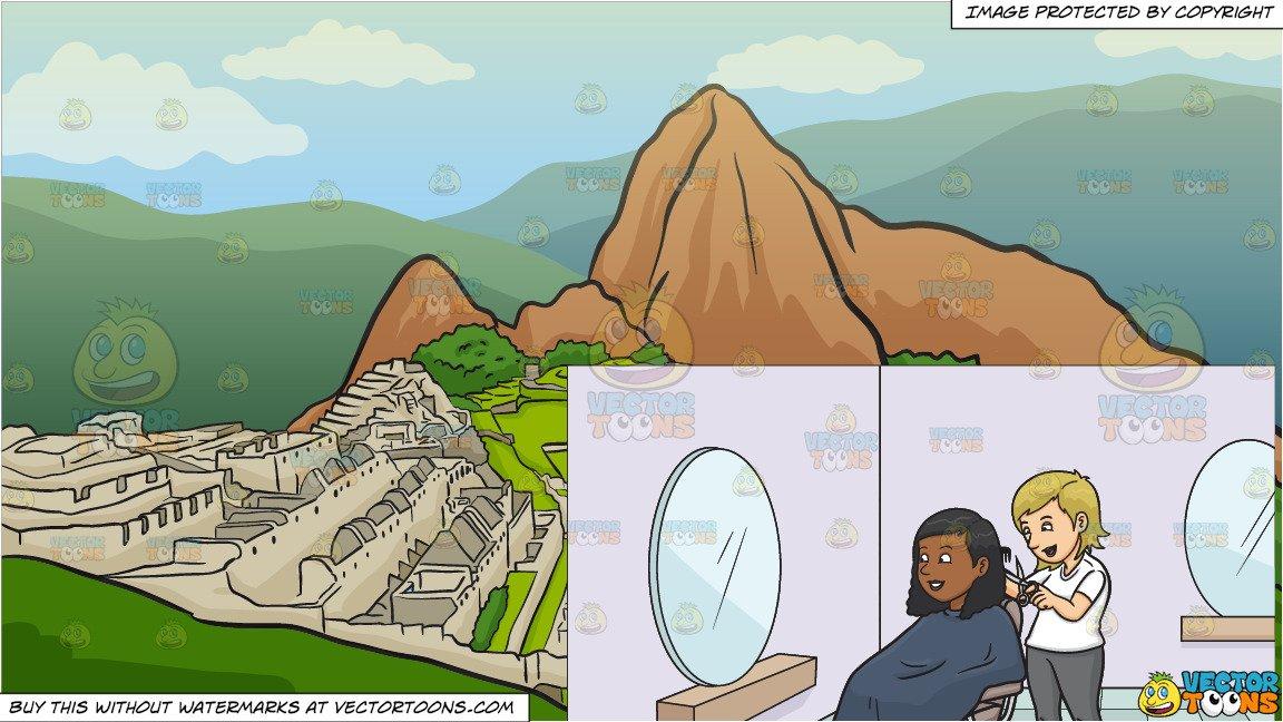 A Black Woman Getting A Haircut and Machu Picchu Background.