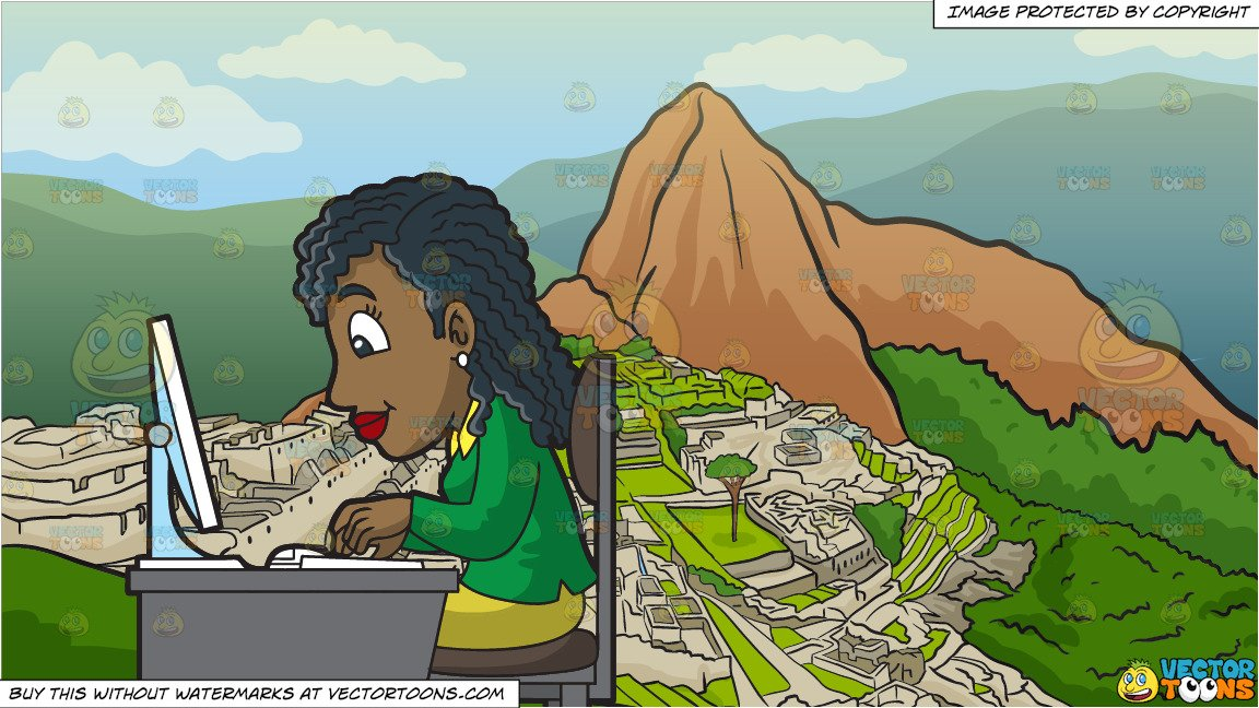 A Black Woman Using Her Office Computer and Machu Picchu Background.