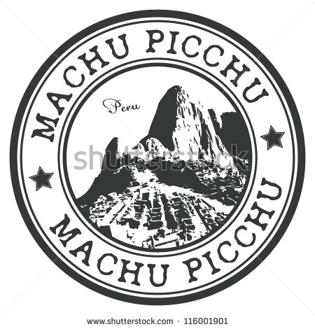 Vector Images, Illustrations and Cliparts: Machu Picchu stamp.