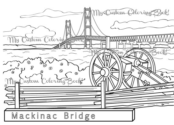 Download Mackinac Bridge Coloring Page by MyCustomColoringBook.