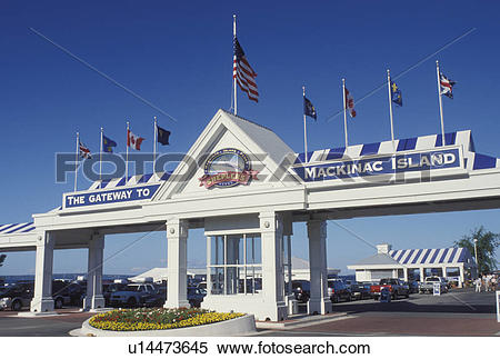 Stock Image of Mackinaw City, MI, Michigan, Shepler's Gateway to.