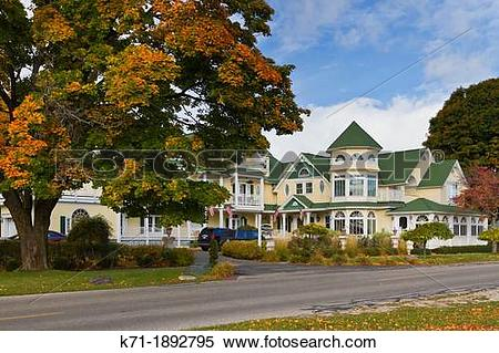 Stock Image of The Brigadoon Bed and Breakfast at Mackinaw City.