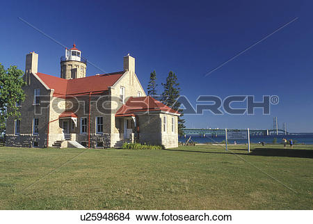 Stock Photo of lighthouse, Mackinaw City, MI, Michigan, Old.