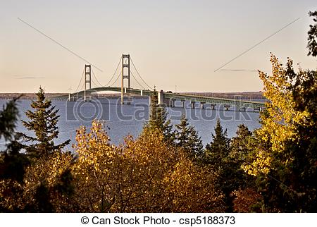 Stock Photos of Mackinaw City Bridge Michigan Autumn Fall St.