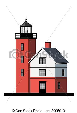Drawings of Round Island light house.