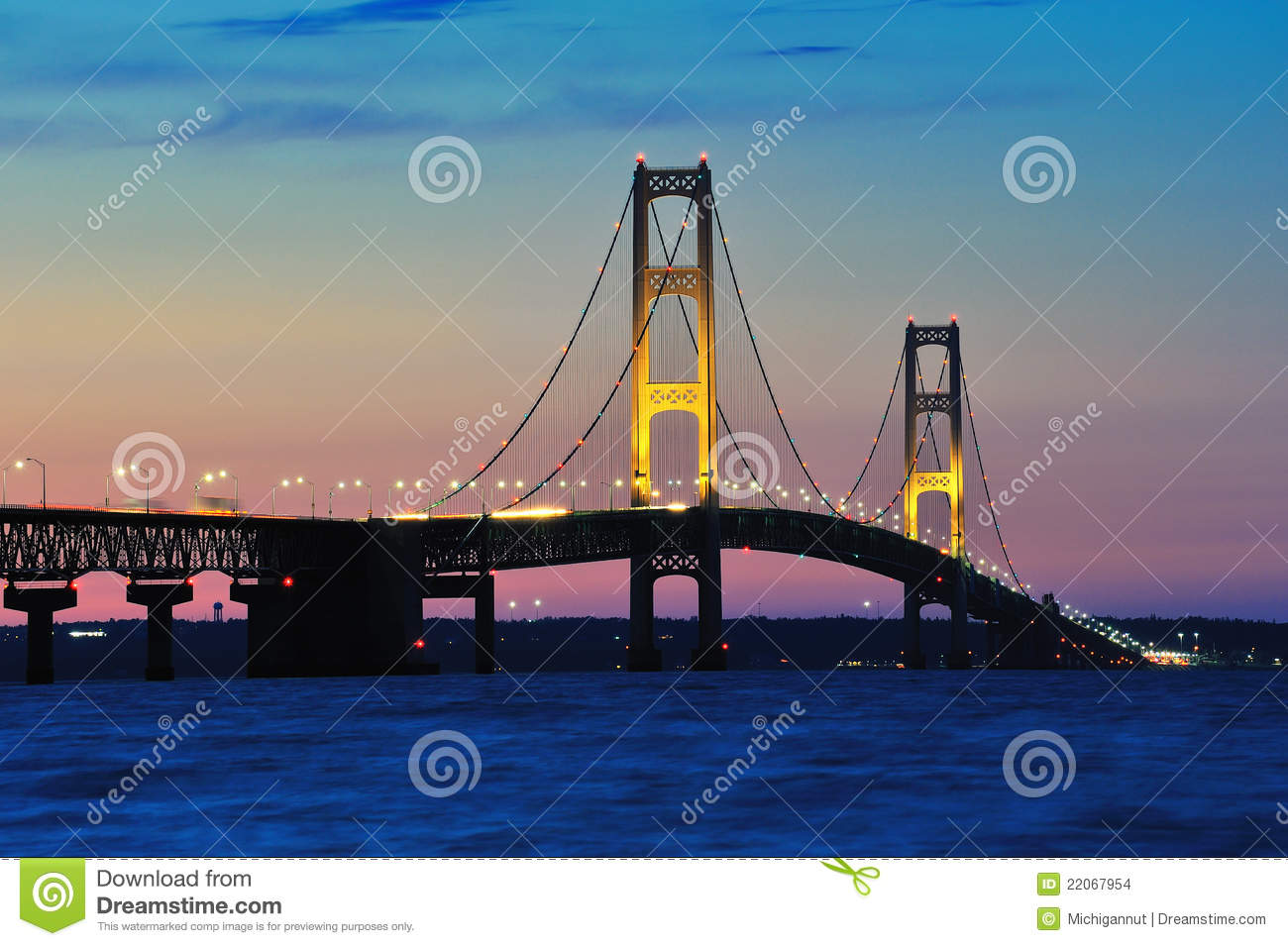 Mackinac Bridge Sunset, Mackinaw City Michigan,USA Stock Images.