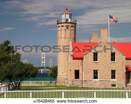 Stock Image of Mackinaw City, MI, Michigan, Lake Michigan, Lake.