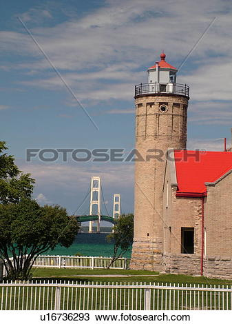 Stock Photo of Mackinaw City, MI, Michigan, Lake Michigan, Lake.