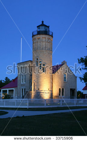 Michigan City Lighthouse Stock Images, Royalty.