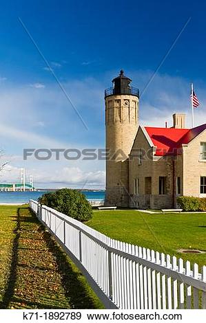 Stock Photograph of The Old Mackinac Point Lighthouse in Mackinaw.