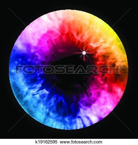 Clipart of Rainbow color eye pupil macro. Vector k19162595.