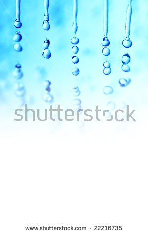 Macro Of Water Droplets (Falling Rain Effect); Winter Theme Stock.