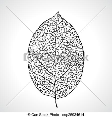 Vector Clip Art of Black macro leaf natural isolated. Vector.
