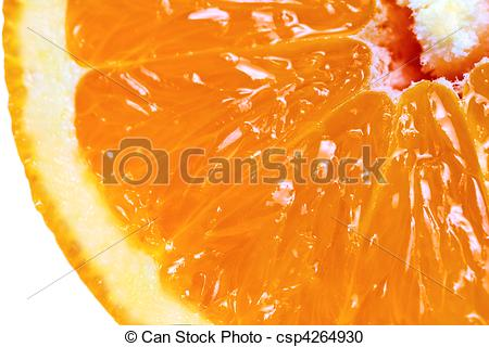 Stock Photography of Macro detailed view of sliced orange fruit.